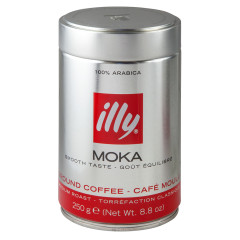 ILLY COFFEE GROUND MEDIUM ROAST RED MOKA COFFEE 8.8 OZ TIN