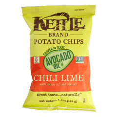 KETTLE POTATO CHIPS CHILI LIME WITH AVOCADO OIL 4.2 OZ BAG