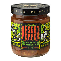 DESERT PEPPER CORN BLACK BEAN RED PEPPER SALSA 16 OZ JAR