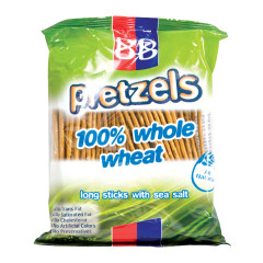 B&B 100% WHOLE WHEAT SEA SALT PRETZEL STICKS 5 OZ BAG