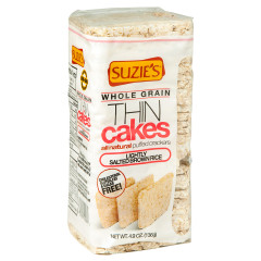SUZIE'S WHOLE GRAIN BROWN RICE AND LIGHT SALT THIN CAKES 4.9 OZ