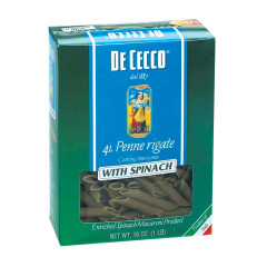 DECECCO PENNE RIGATE WITH SPINACH PASTA 12 OZ BOX