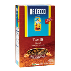 DECECCO 100 PERCENT WHOLE WHEAT FUSILLI PASTA 13.25 OZ BOX