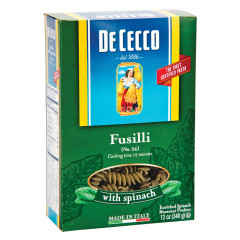 DECECCO FUSILLI WITH SPINACH PASTA 12 OZ BOX