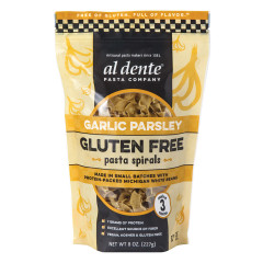 AL DENTE GLUTEN FREE GARLIC PARSLEY PASTA SPIRALS 8 OZ POUCH
