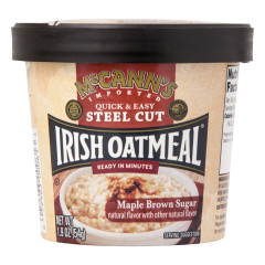MCCANN'S STEEL CUT INSTANT IRISH OATMEAL MAPLE BROWN SUGAR 1.9 OZ CUP