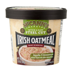 MCCANN'S STEEL CUT INSTANT IRISH OATMEAL APPLE CINNAMON 1.9 OZ CUP