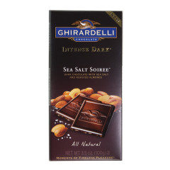 GHIRARDELLI INTENSE DARK CHOCOLATE SEA SALT SOIREE 3.5 OZ BAR