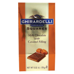 GHIRARDELLI MILK CHOCOLATE CARAMEL SQUARES 5.32 OZ BAG