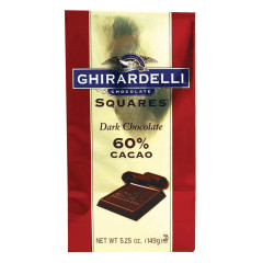 GHIRARDELLI 60% DARK CHOCOLATE SQUARES 5.25 OZ BAG