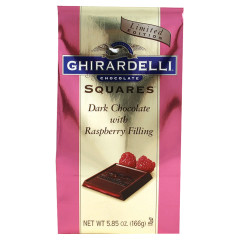 GHIRARDELLI DARK CHOCOLATE RASPBERRY SQUARES 5.32 OZ BAG