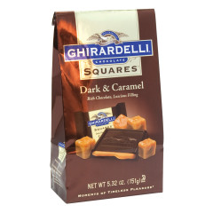 GHIRARDELLI DARK CHOCOLATE CARAMEL SQUARES 5.32 OZ BAG