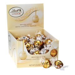 LINDT LINDOR WHITE CHOCOLATE TRUFFLES 60 PC BOX