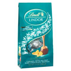 LINDT LINDOR DARK CHOCOLATE CARAMEL WITH SEA SALT TRUFFLES 5.1 OZ BAG