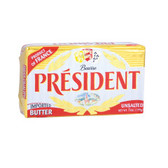 PRESIDENT UNSALTED SWEET BUTTER 7 OZ BAR