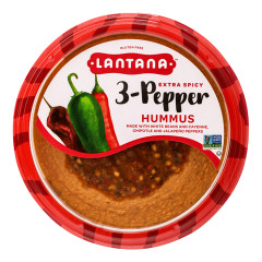 LANTANA EXTRA SPICY THREE PEPPER HUMMUS 10 OZ TUB