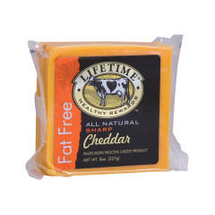 LIFETIME FAT FREE SHARP CHEDDAR CHEESE 8 OZ