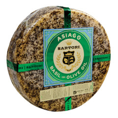 SARTORIL BASIL WITH OLIVE OIL ASIAGO CHEESE WHEEL