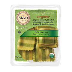 NUOVO ORGANIC SPINACH AND MOZZARELLA RAVIOLI PASTA 9 OZ