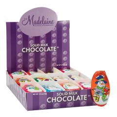 MADELAINE MILK CHOCOLATE FOILED SNOWMAN FLAT 0.5 OZ