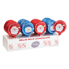 MADELAINE MILK CHOCOLATE FOILED SANTA 1 OZ LOLLIPOP