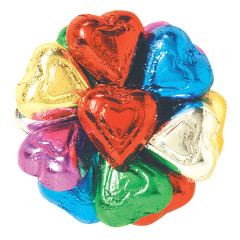 MADELAINE MILK CHOCOLATE FOILED RAINBOW HEARTS