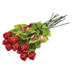 MADELAINE SINGLE MILK CHOCOLATE FOILED RED ROSES 0.75 OZ