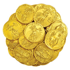 MADELAINE MILK CHOCOLATE FOILED MEDIUM GOLD COINS