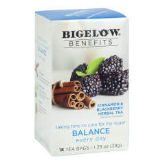 BIGELOW BENEFITS CINNAMON BLACKBERRY TEA 18 CT BOX