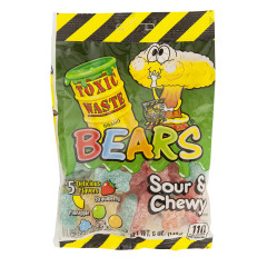 TOXIC WASTE SOUR AND CHEWY GUMMY BEARS 5 OZ PEG BAG