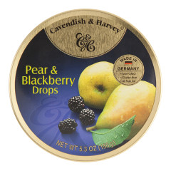 CAVENDISH & HARVEY PEAR & BLACKBERRY DROPS 5.3 OZ TIN