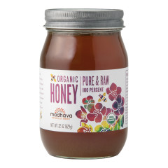 MADHAVA ORGANIC PURE & RAW HONEY 22 OZ JAR