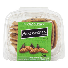 AUNT GUSSIE'S SUGAR FREE SPELT CHOCOLATE CHIP COOKIES WITH ALMONDS 7 OZ TUB