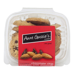 AUNT GUSSIE'S CHOCOLATE CHIP COOKIES WITH ALMONDS 7 OZ TUB