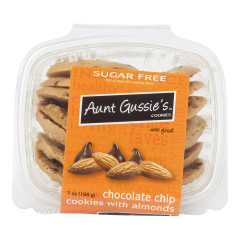AUNT GUSSIE'S SUGAR FREE CHOCOLATE CHIP COOKIES WITH ALMONDS 7 OZ TUB
