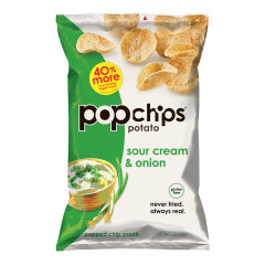 POPCHIPS SOUR CREAM AND ONION POTATO CHIPS 5 OZ BAG