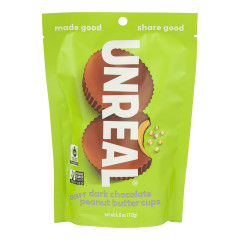 UNREAL CRISPY DARK CHOCOLATE PEANUT BUTTER CUPS 4 OZ POUCH