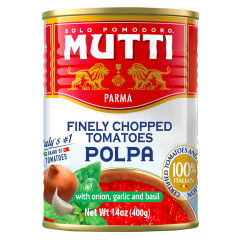 MUTTI FINELY CHOPPED TOMATOES WITH ONION, GARLIC AND BASIL 14 OZ CAN