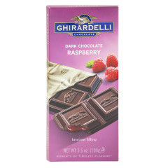 GHIRARDELLI PRESTIGE DARK CHOCOLATE RASPBERRY 3.5 OZ BAR