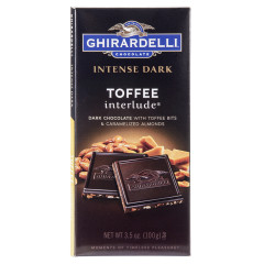 GHIRARDELLI INTENSE DARK CHOCOLATE TOFFEE INTERLUDE 3.5 OZ BAR