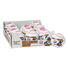 BIG LEAGUE CHEW PLASTIC BASEBALL WITH GUMBALLS AND STICKERS