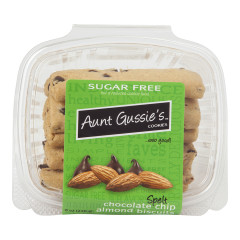 AUNT GUSSIE'S SUGAR FREE SPELT CHOCOLATE CHIP ALMOND BISCUITS 8 OZ TUB