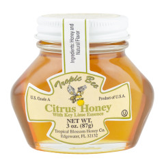 TROPIC BEE CITRUS HONEY WITH KEY LIME ESSENCE 3 OZ GLASS JAR *FL DC ONLY*