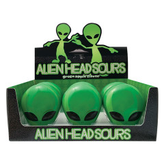 ALIEN HEAD SOURS GREEN APPLE CANDY 1 OZ TIN