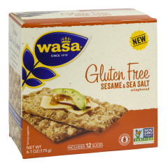 WASA GLUTEN FREE SESAME AND SEA SALT CRISPBREAD 6.1 OZ BOX