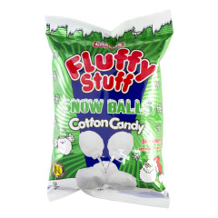FLUFFY STUFF SNOW BALLS STRAWBERRY COTTON CANDY 2.1 OZ BAG