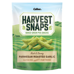 CALBEE HARVEST SNAPS PARMESAN ROASTED GARLIC SNAPEA CRISPS 3 OZ POUCH
