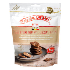 BELGIAN BUTTERS COCOA ALMOND THINS WITH CHOCOLATE CHUNKS 4.23 OZ POUCH