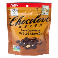 CHOCOLOVE DARK CHOCOLATE SALTED ALMONDS 4.5 OZ POUCH
