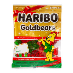 HARIBO CHRISTMAS GOLD BEARS GUMMI CANDY 4 OZ PEG BAG